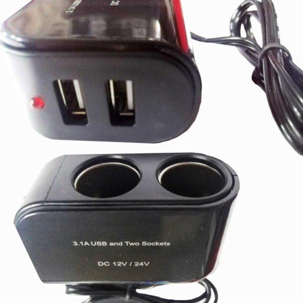 Αντάπτορας Αναπτήρα Με 2 Επιπλέον Θέσεις Και 2 Θήρες USB