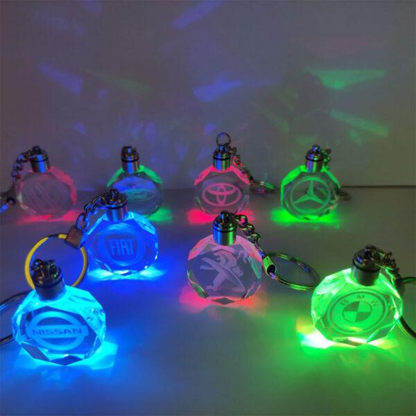 Φωτιζόμενο Γυάλινο RGB Μπρελόκ Πολυτέλειας 3D Fiat LED